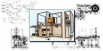 Folding carton loading and closing machine, and computer control flow chart, designed by Roy Rendahl for ADCO in Sanger, California