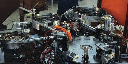 Typical example of automatic computer controlled pneumatic assembly machines designed by Roy Al Rendahl.