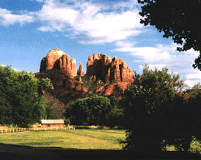 """Cathedral Rock from Red Rock Crossing, Sedona, AZ"" 35mm color photograph. © Roy Al Rendahl"